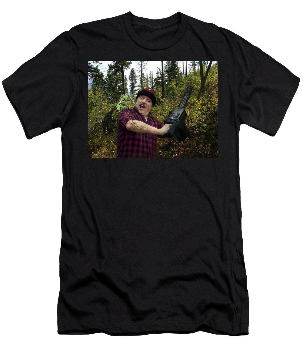 Surrealism Fantastic+realism Cloning Parasites Lumberjack Chainsaw Selfportrait T-Shirt featuring the digital art I am a Lumberjack I am OK by Otto Rapp