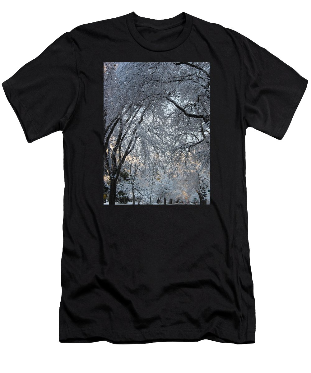 Ice Storm Men's T-Shirt (Athletic Fit) featuring the photograph Ice Storm On The 6th II by Jacqueline Russell