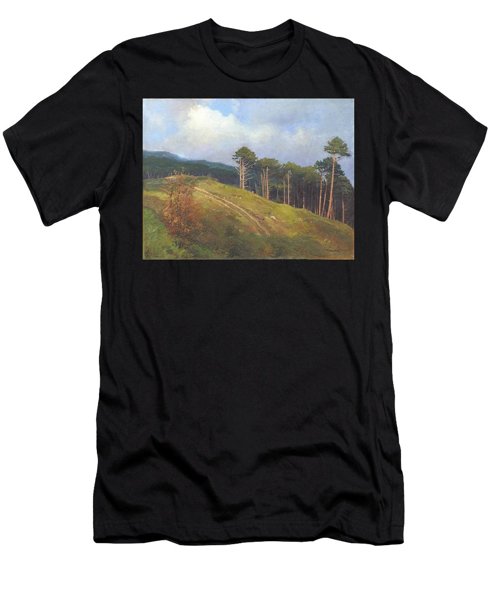 Men's T-Shirt (Athletic Fit) featuring the painting In The Crimean Mountains  by Denis Chernov