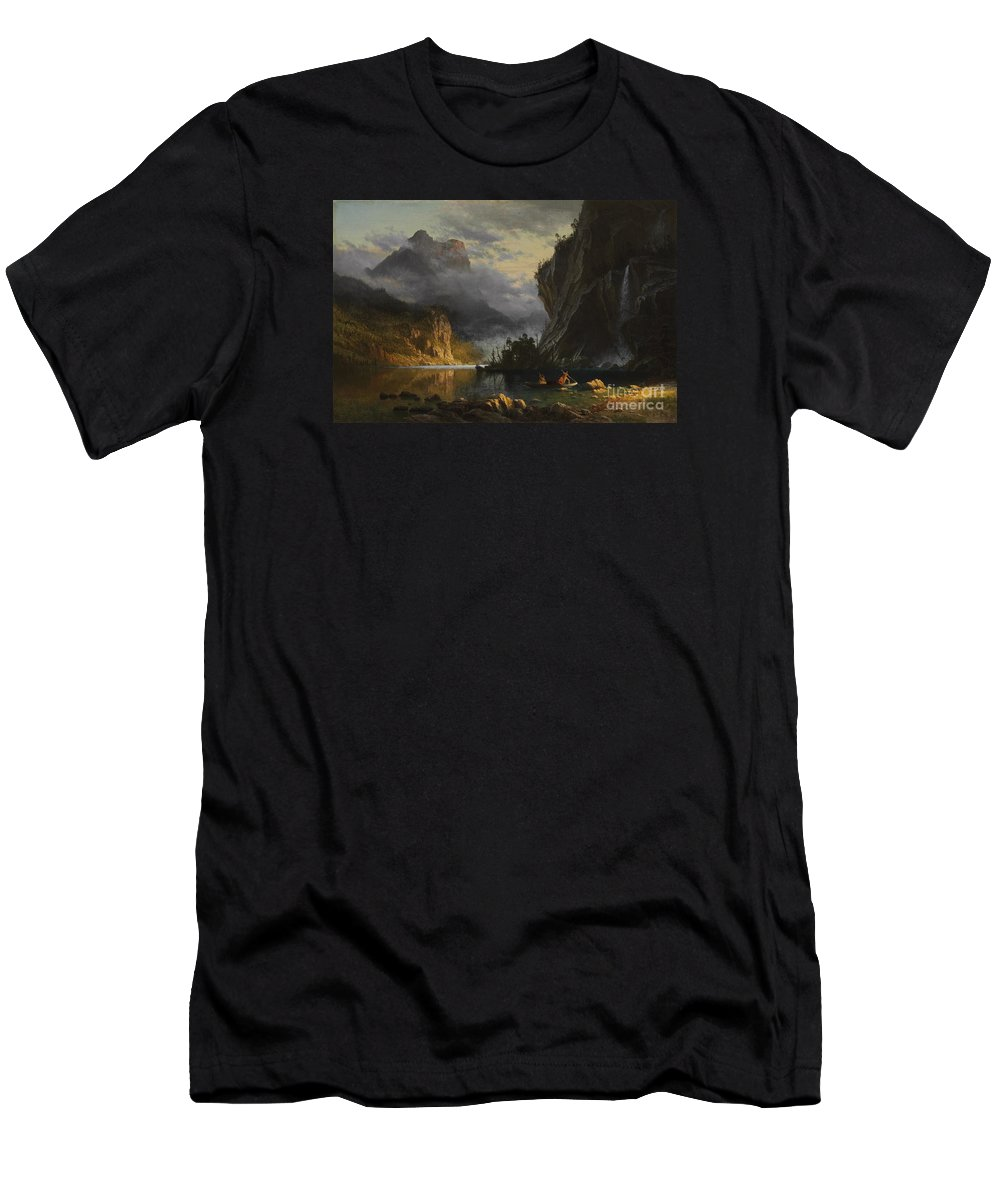 Albert Bierstadt - Indians Spear Fishing (1862) Men's T-Shirt (Athletic Fit) featuring the painting Indians Spear Fishing by Celestial Images