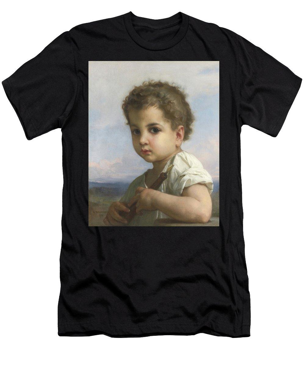 William Bouguereau 1825-1905 Joueur De Flute Men's T-Shirt (Athletic Fit) featuring the painting Joueur De Flute by MotionAge Designs