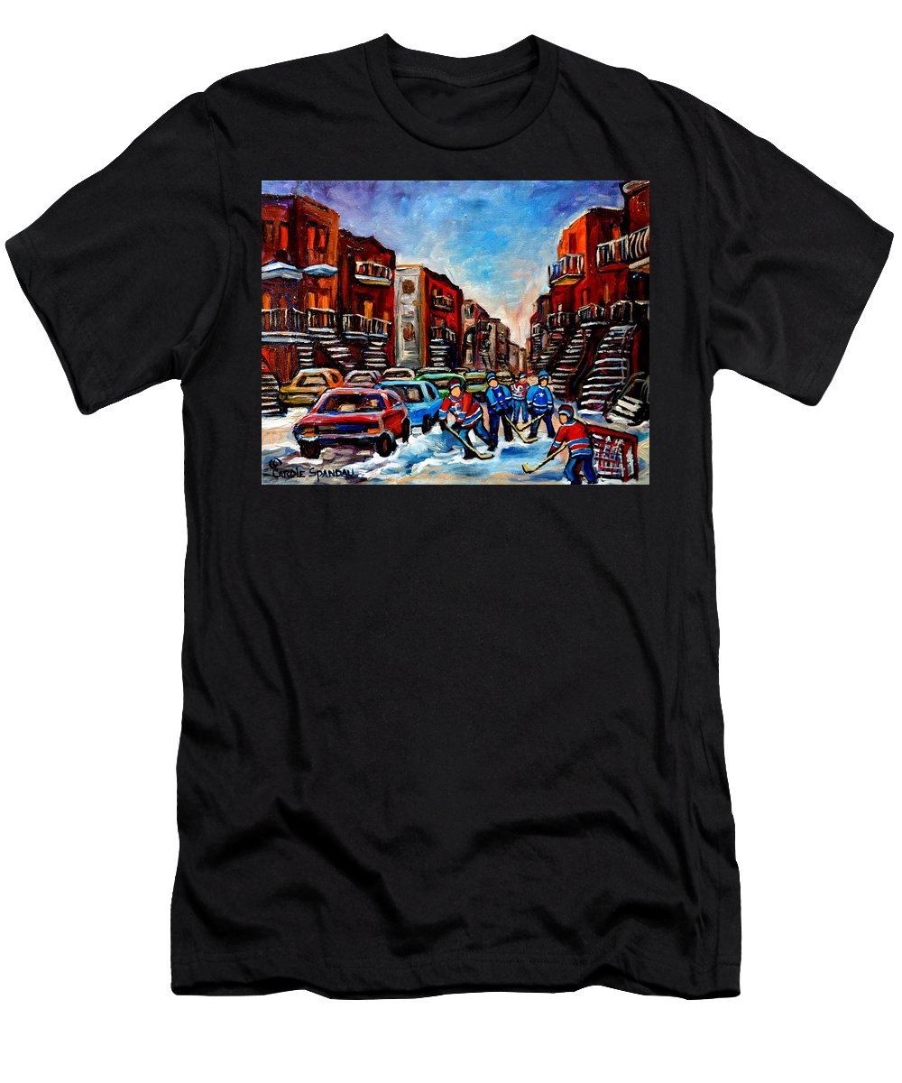 Montreal T-Shirt featuring the painting Late Afternoon Street Hockey by Carole Spandau