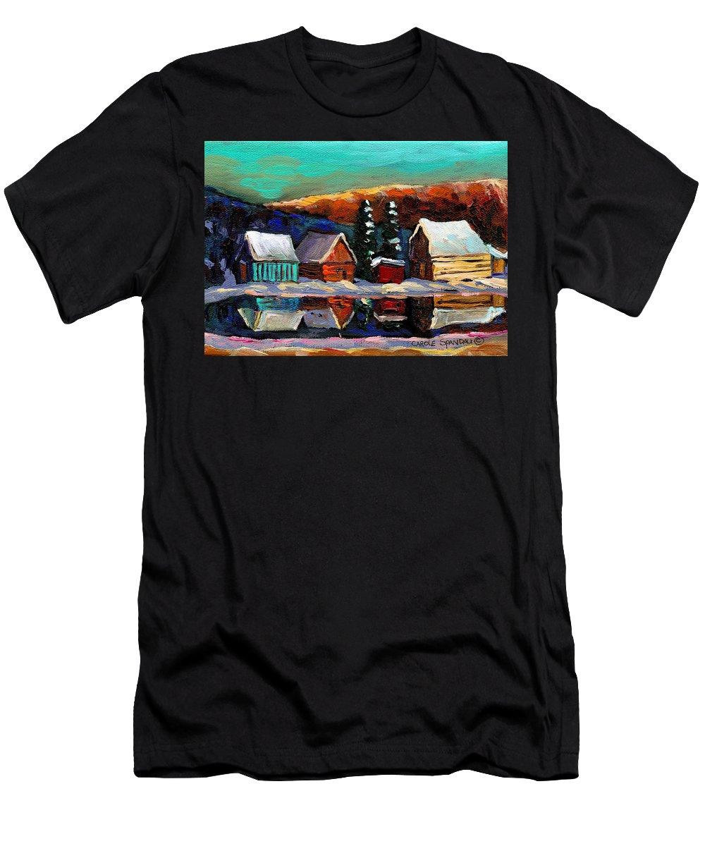 Quebec Winter Landscape Men's T-Shirt (Athletic Fit) featuring the painting Laurentian Landscape Quebec Winter Scene by Carole Spandau