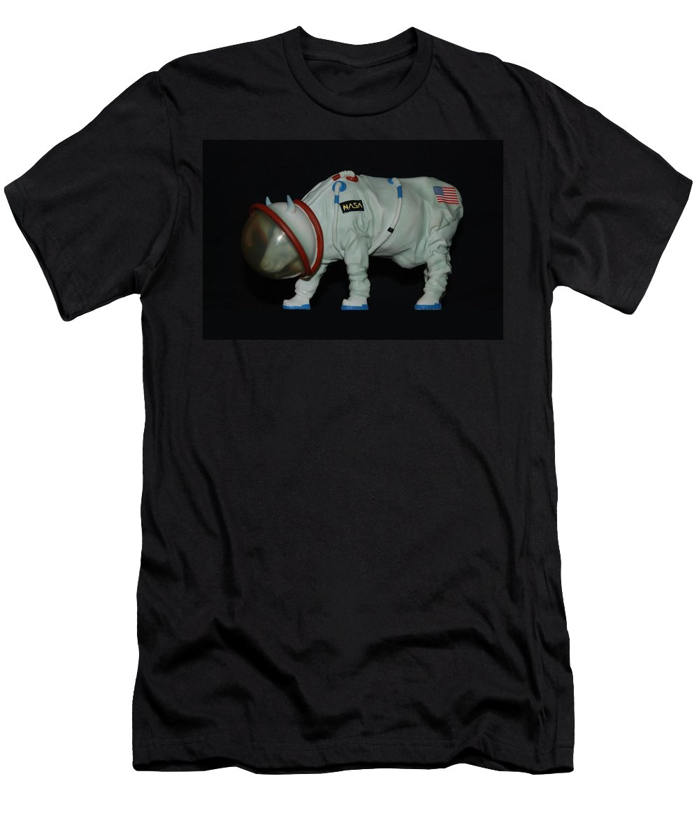 Astronauts Men's T-Shirt (Athletic Fit) featuring the photograph Maurice The Space Cow Boy by Rob Hans