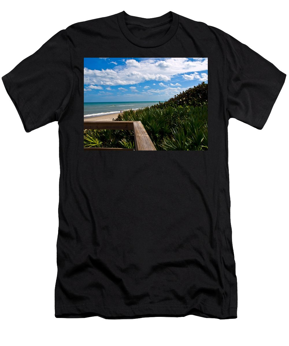 Beach; February; Florida; Warm; Warmth; Temperature; Degrees; Weather; Sun; Melbourne; Sand; Shore; Men's T-Shirt (Athletic Fit) featuring the photograph Melbourne Beach On The East Coast Of Florida by Allan Hughes
