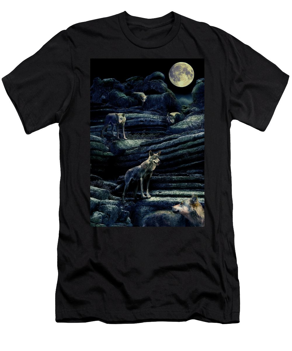 Wolf Men's T-Shirt (Athletic Fit) featuring the photograph Moonlit Wolf Pack by Mal Bray