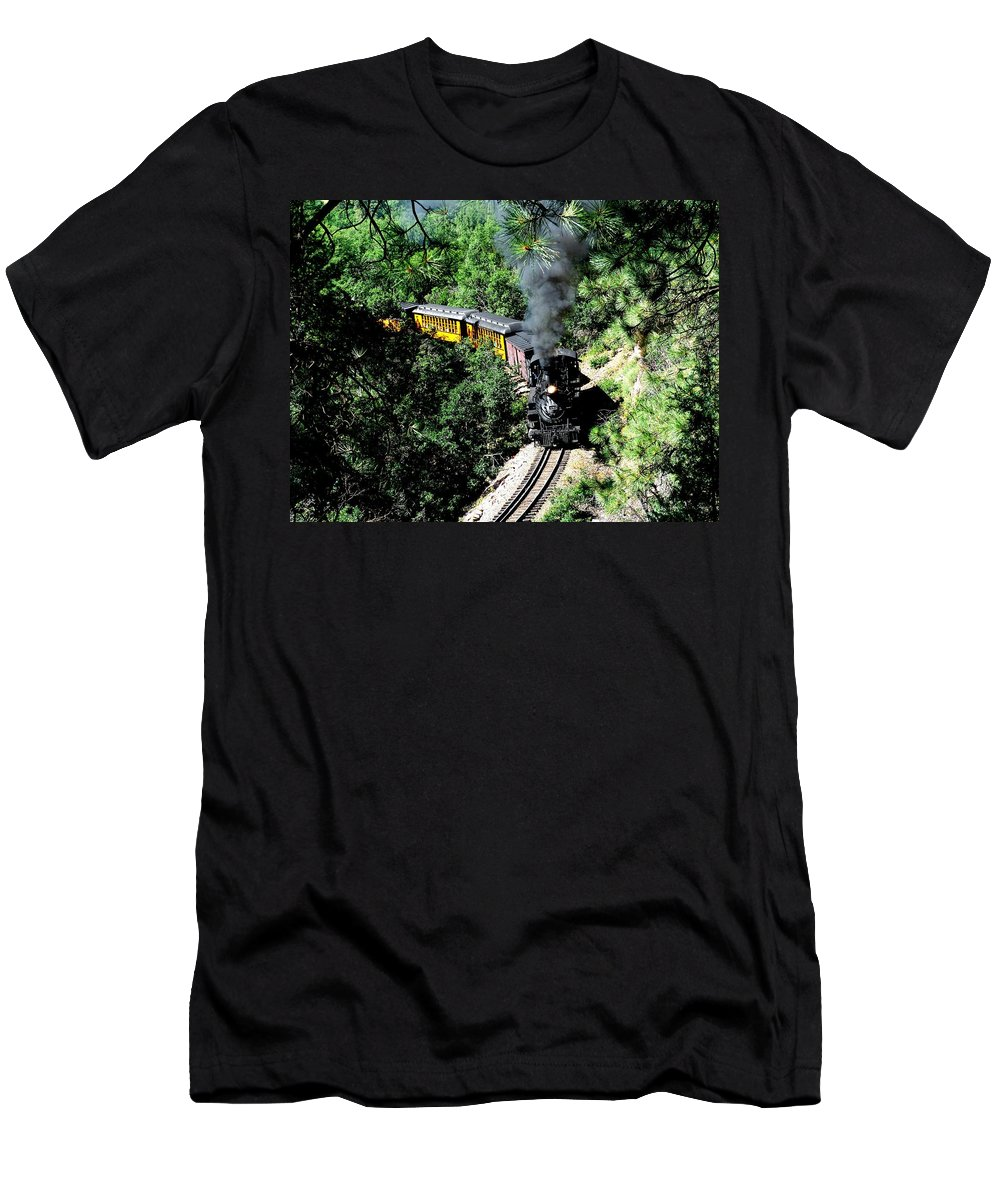 Train Men's T-Shirt (Athletic Fit) featuring the photograph Nostalgic Moments by Carol Milisen