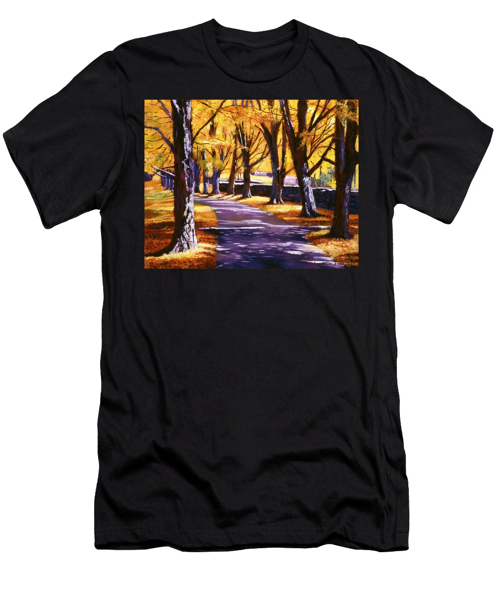 Landscape Men's T-Shirt (Athletic Fit) featuring the painting Road Of Golden Beauty by David Lloyd Glover