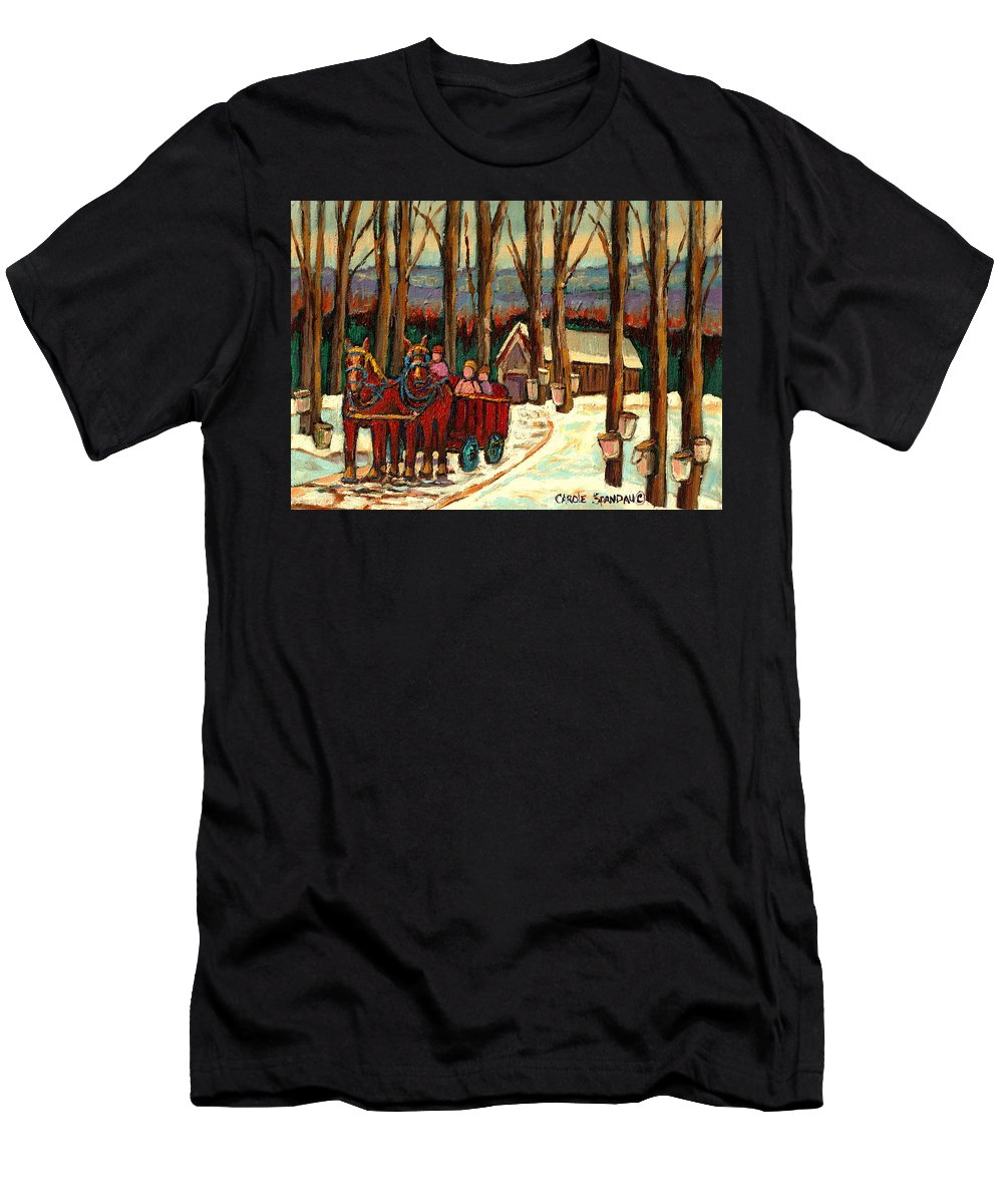 Sugar Shack By Carole Spandau Men's T-Shirt (Athletic Fit) featuring the painting Sugar Shack by Carole Spandau