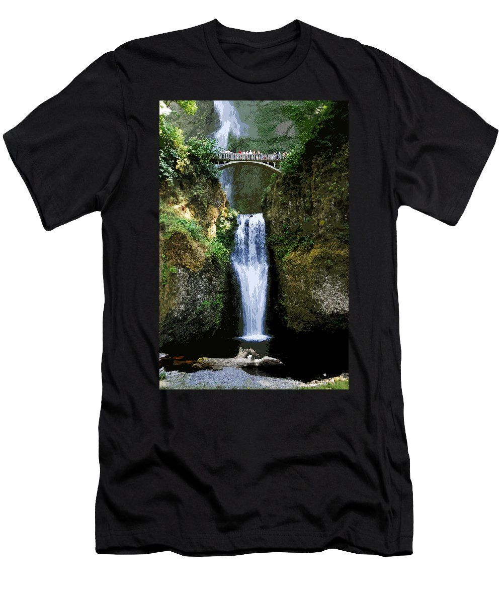 Water Falls Men's T-Shirt (Athletic Fit) featuring the painting Two Falls by David Lee Thompson