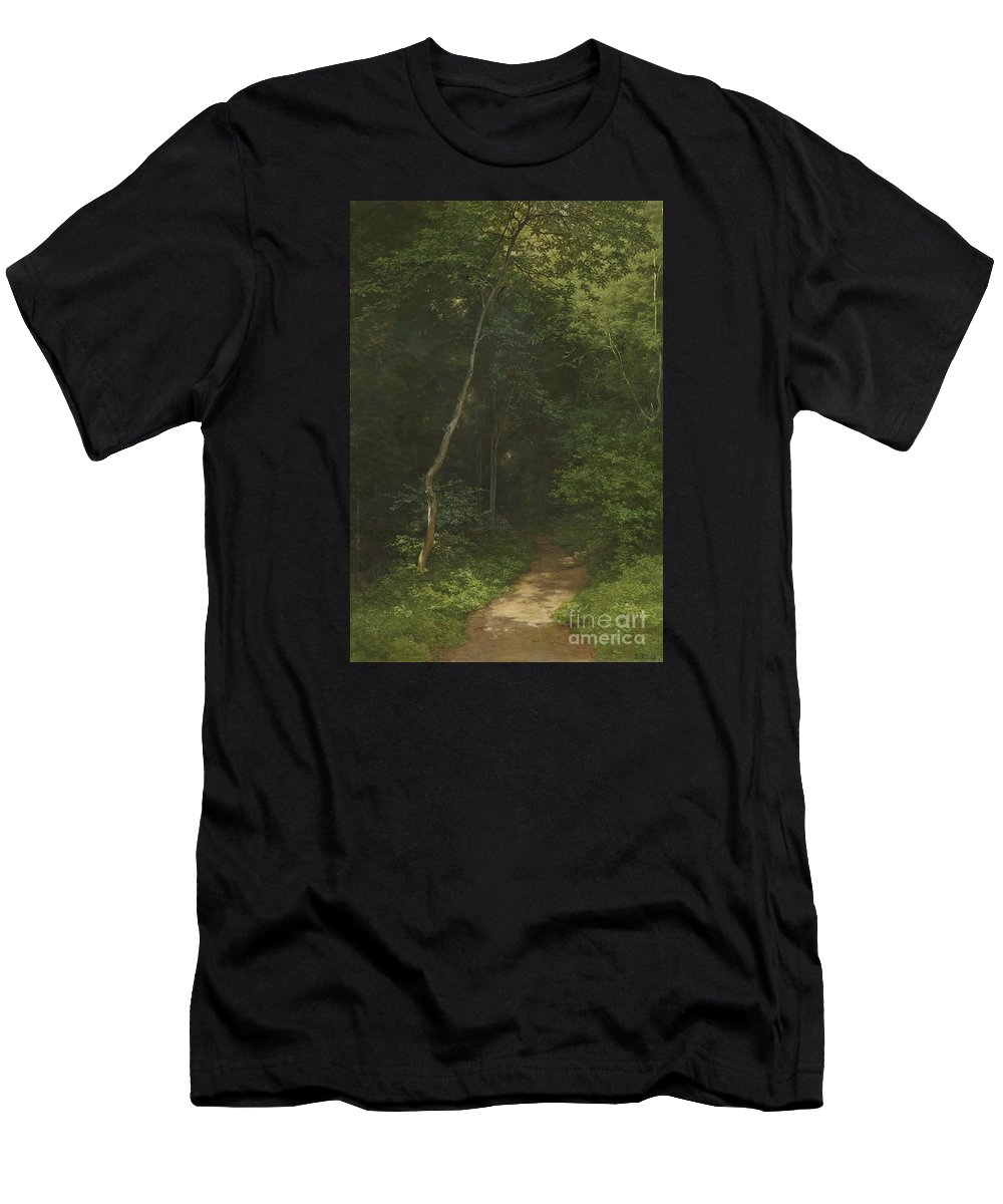 Robert Z�nd Waldweg Forest Trac Men's T-Shirt (Athletic Fit) featuring the painting Waldweg Forest Trac by MotionAge Designs