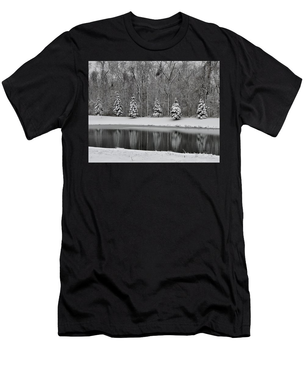 Winter Men's T-Shirt (Athletic Fit) featuring the photograph Winter Reflections by Cheryl Carder-Hall