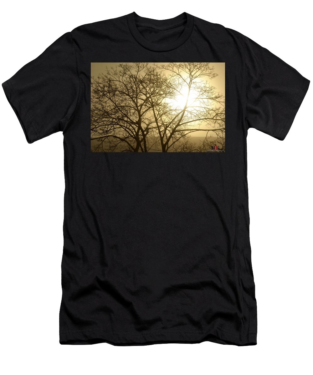 Buffalo Men's T-Shirt (Athletic Fit) featuring the photograph 01 Foggy Sunday Sunrise by Michael Frank Jr