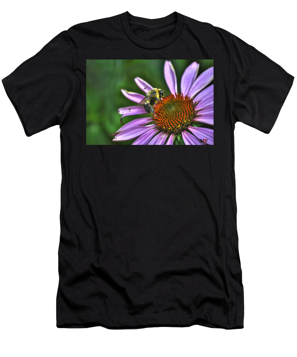 Buffalo Men's T-Shirt (Athletic Fit) featuring the photograph 02 Bee And Echinacea by Michael Frank Jr