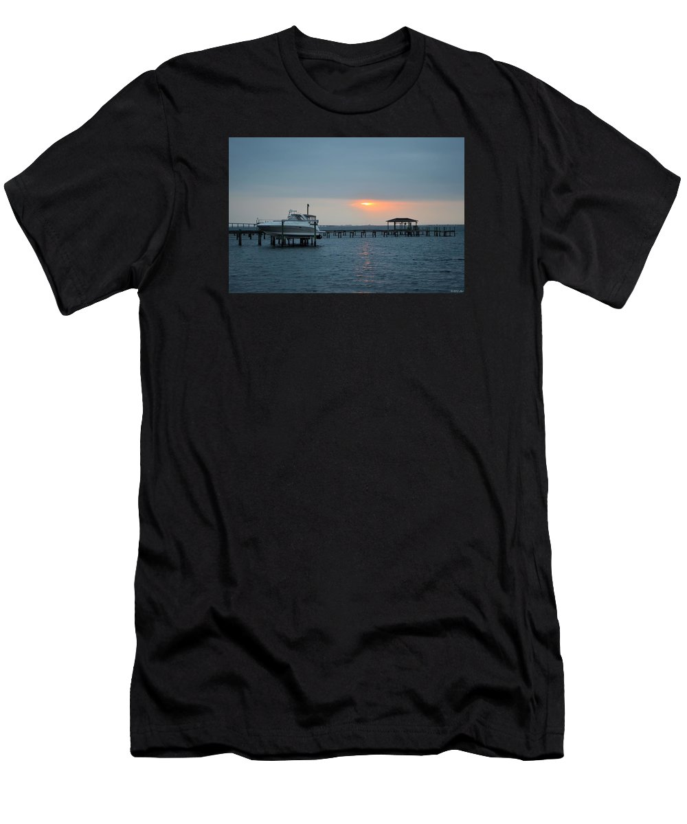 20120204 Men's T-Shirt (Athletic Fit) featuring the photograph 0204 Faint Sunrise On Sound by Jeff at JSJ Photography