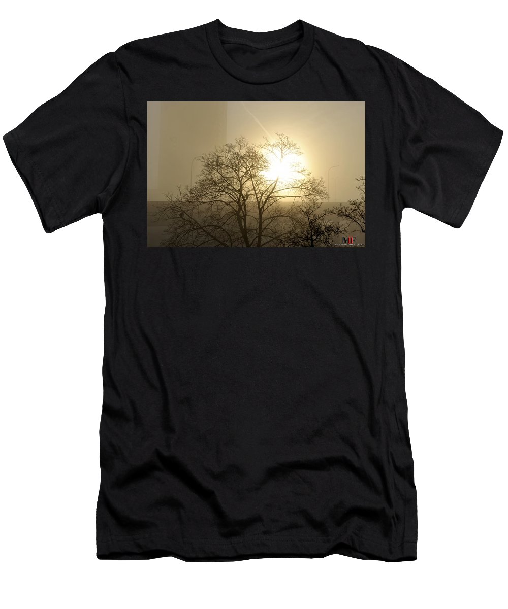 Buffalo Men's T-Shirt (Athletic Fit) featuring the photograph 04 Foggy Sunday Sunrise by Michael Frank Jr
