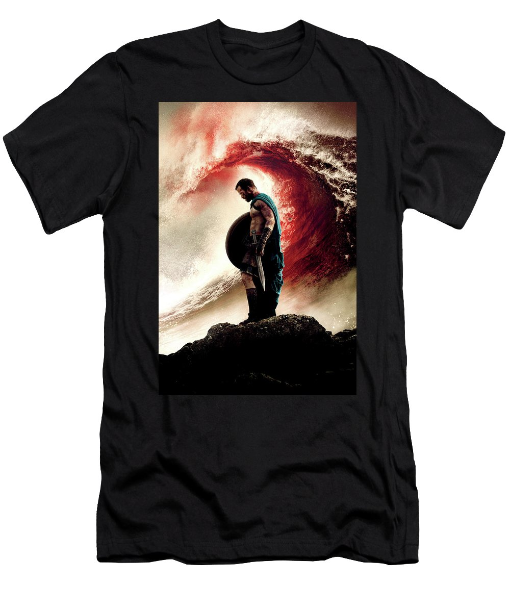 300 Rise Of An Empire 2014 Men's T-Shirt (Athletic Fit) featuring the digital art 300 Rise Of An Empire 2014 by Geek N Rock
