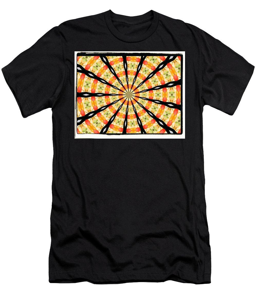 Orange Yellow Black Men's T-Shirt (Athletic Fit) featuring the digital art 5 by John Holfinger