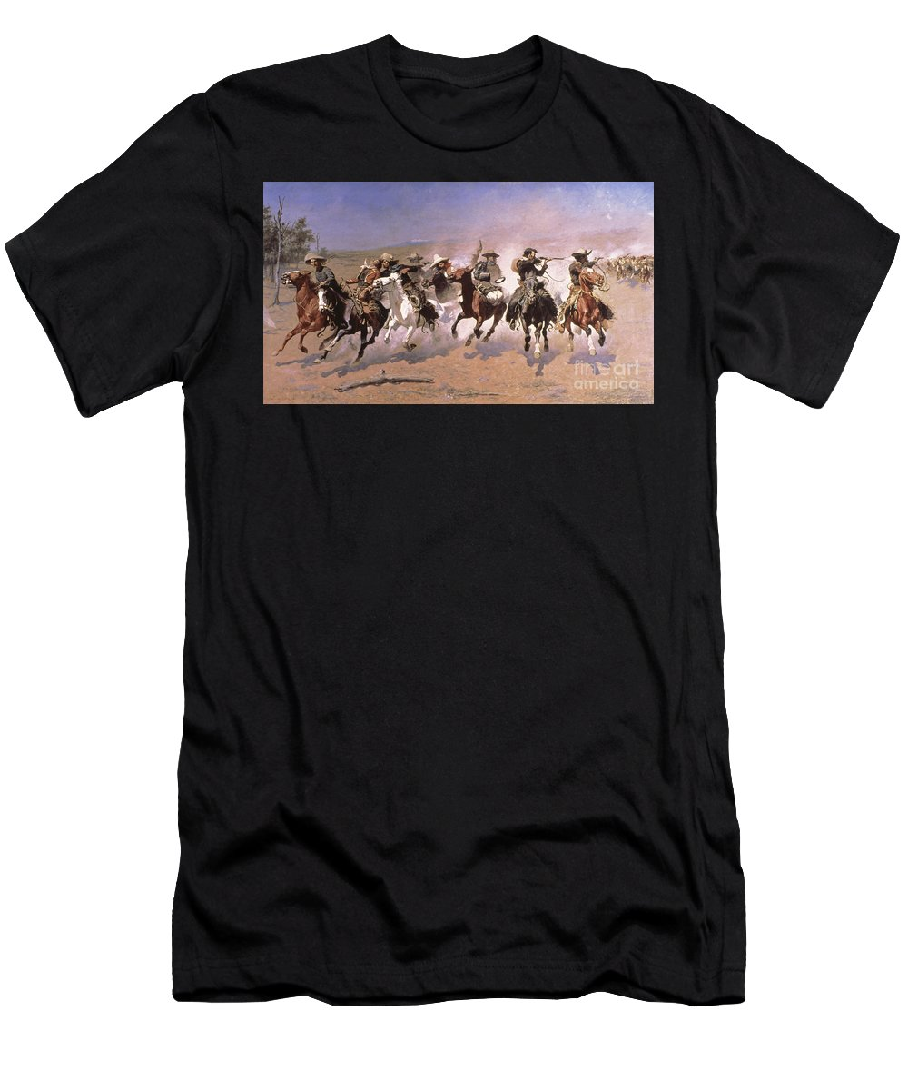 Remington T-Shirt featuring the painting A Dash For The Timber by Frederic Remington
