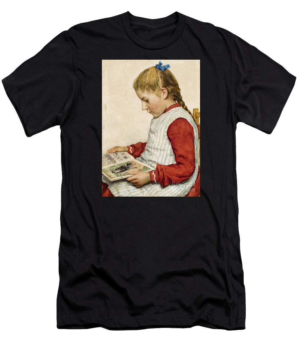 Albert Anker. . 1831 Ins - 1910 Ins. . A Girl Looking At A Book. Men's T-Shirt (Athletic Fit) featuring the painting A Girl Looking At A Book by Celestial Images