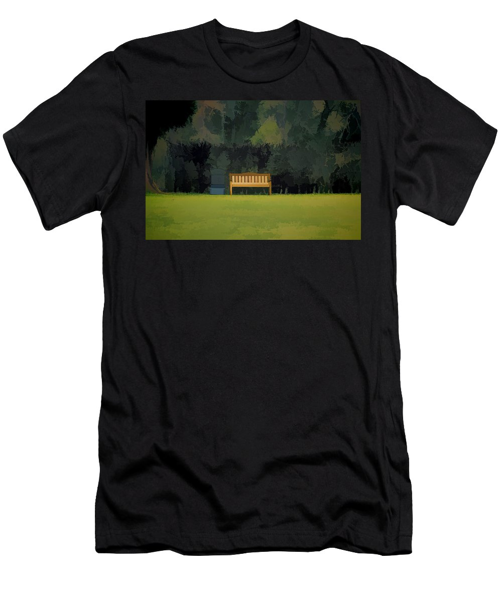 Bench Men's T-Shirt (Athletic Fit) featuring the photograph A Trash Can And Wooden Benches In A Small Grassy Area by Ashish Agarwal