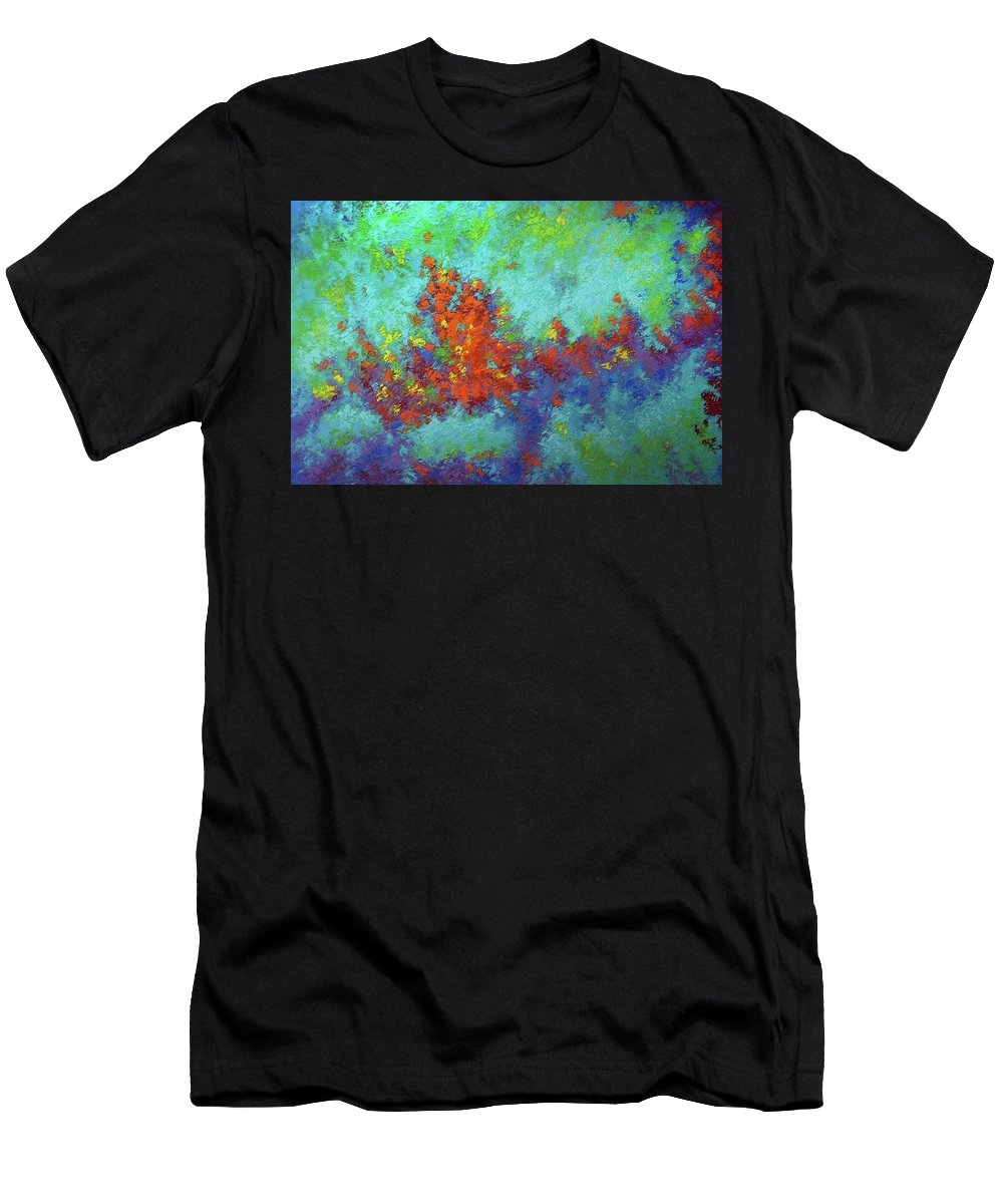 Abstract Men's T-Shirt (Athletic Fit) featuring the digital art Abstract Pallet Oil Color by Nikos Zarras