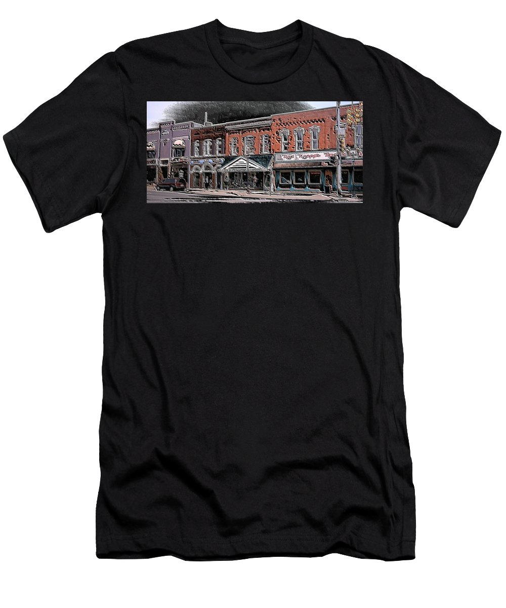 Digital Art Men's T-Shirt (Athletic Fit) featuring the digital art Abstract Town by Belinda Cox