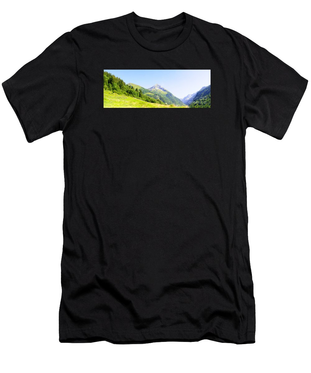 Panorama Men's T-Shirt (Athletic Fit) featuring the photograph Alpine Mountain Peak Landscape. by Ilan Rosen