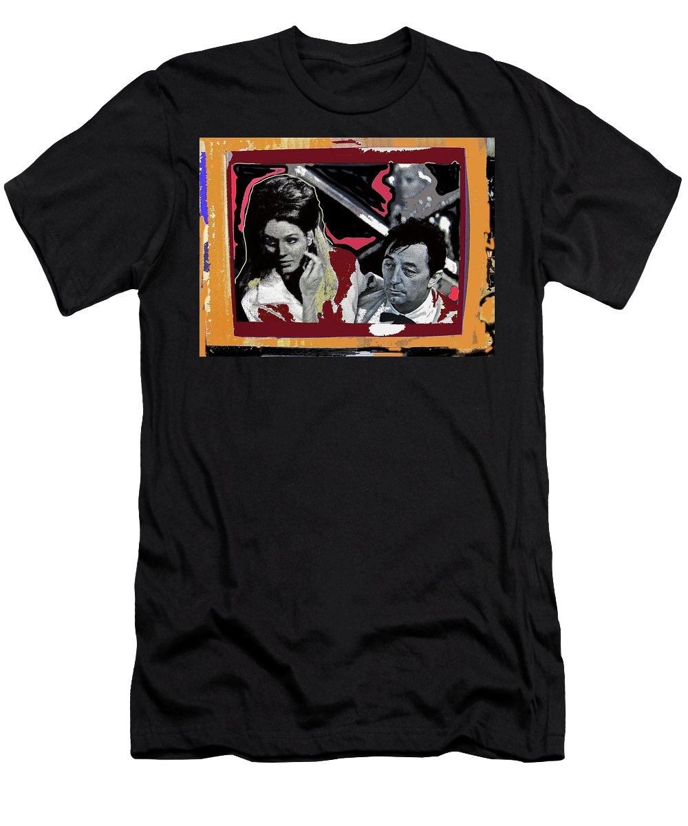 Angie Dickinson Robert Mitchum Pose Collage Young Billy Young Old Tucson Arizona 1968 Men's T-Shirt (Athletic Fit) featuring the photograph Angie Dickinson Robert Mitchum Pose Collage Young Billy Young Old Tucson Arizona 1968-2013 by David Lee Guss