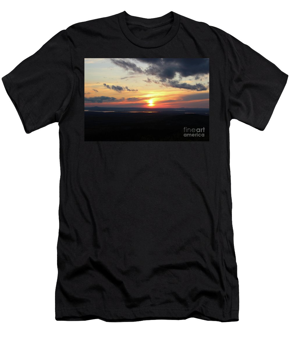 Sunset Men's T-Shirt (Athletic Fit) featuring the photograph As The Sun Goes Down by Nicole Engelhardt