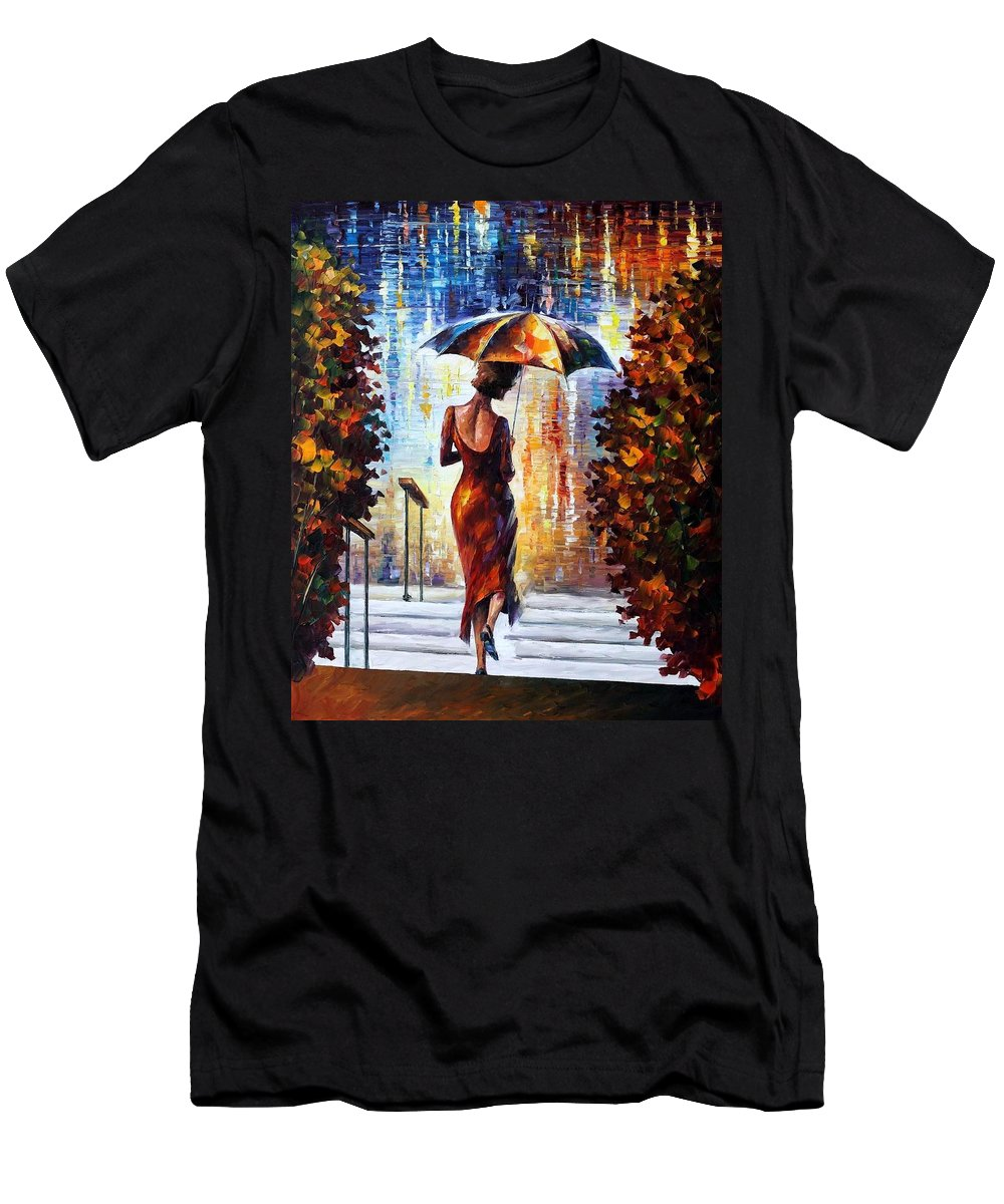 Afremov Men's T-Shirt (Athletic Fit) featuring the painting At The Steps by Leonid Afremov