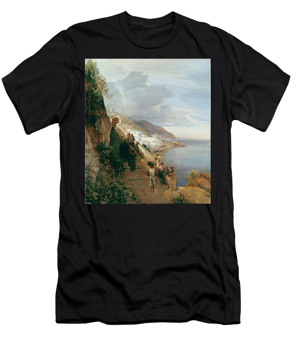 Oswald Achenbach Men's T-Shirt (Athletic Fit) featuring the painting Aufgang Zum Kloster by MotionAge Designs