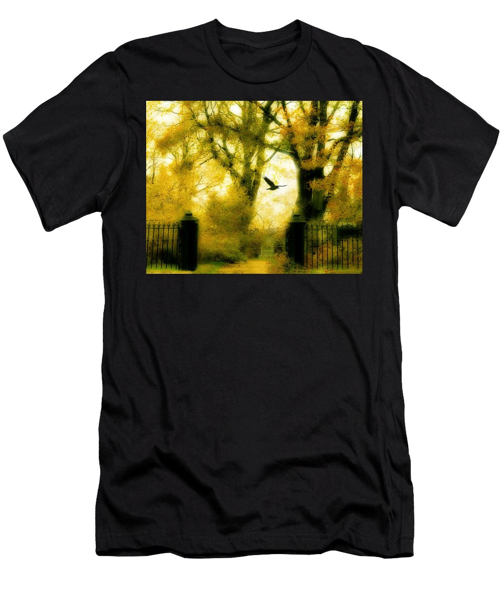 Yellow Men's T-Shirt (Athletic Fit) featuring the photograph Autumn Graveyard by Gothicrow Images