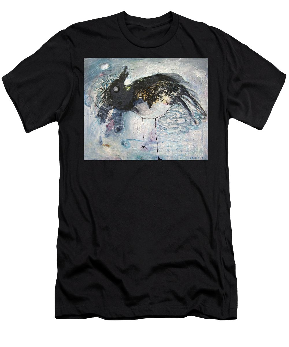 Robin Painting Men's T-Shirt (Athletic Fit) featuring the painting Baby Robin by Seon-Jeong Kim