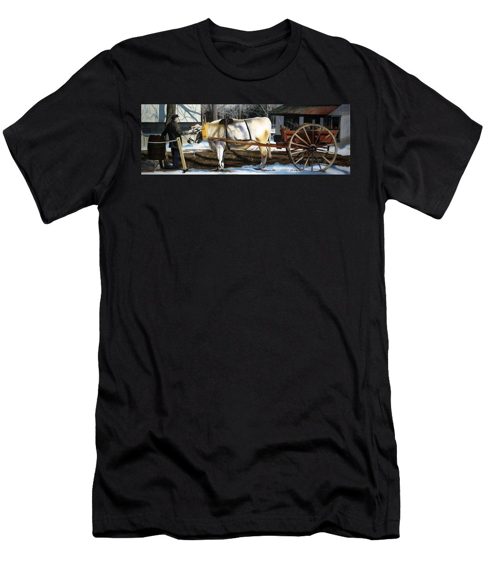 Cow Men's T-Shirt (Athletic Fit) featuring the painting Back In Time by Denny Bond