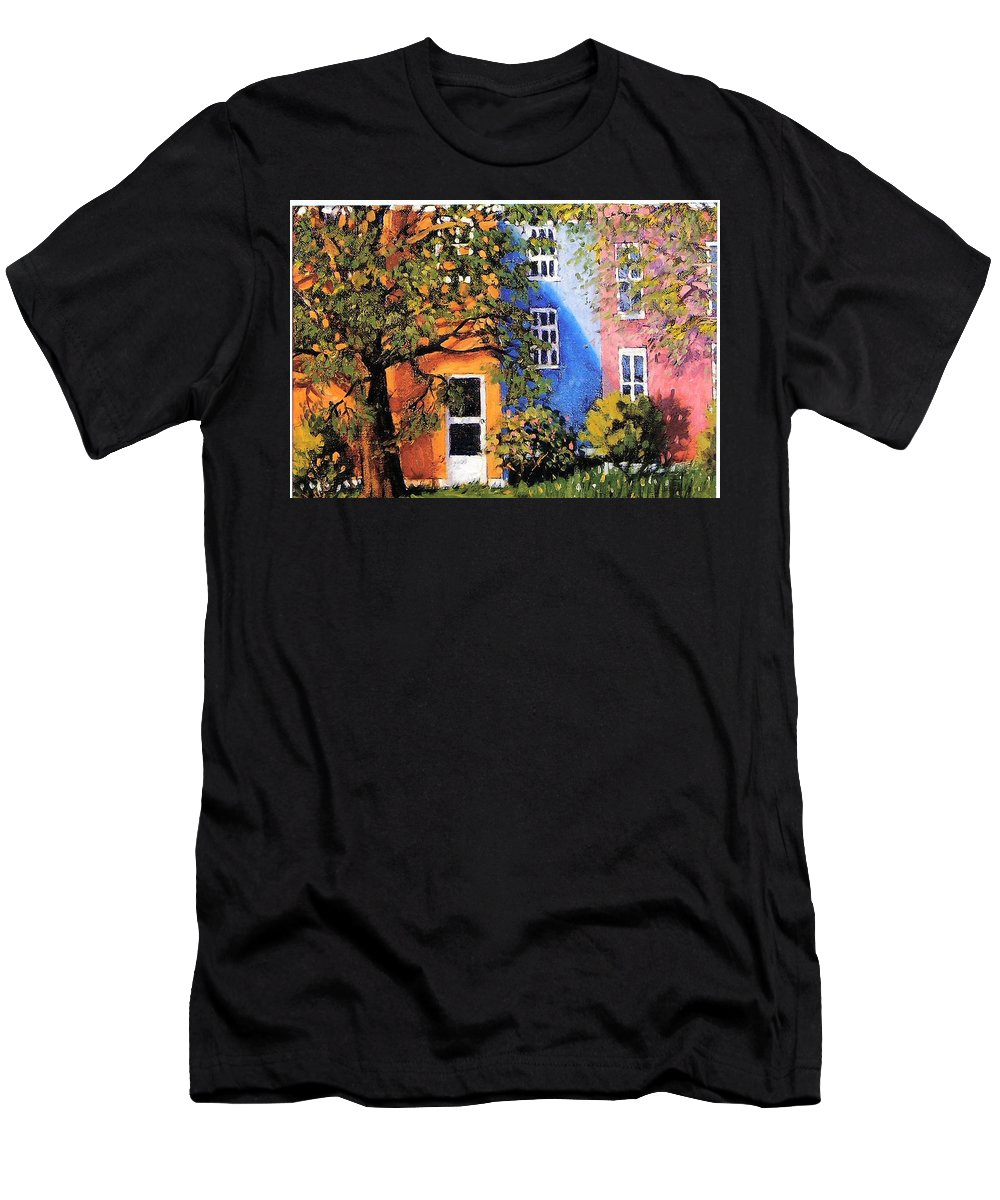 Scenic Men's T-Shirt (Athletic Fit) featuring the painting Backyard by Jonathan Carter