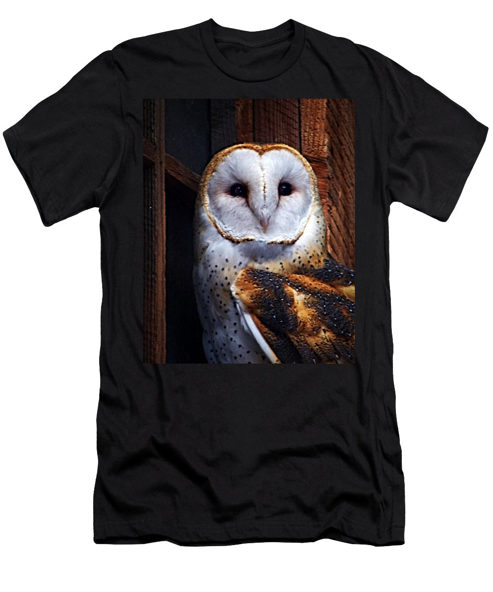 Digital Painting Men's T-Shirt (Athletic Fit) featuring the photograph Barn Owl by Anthony Jones