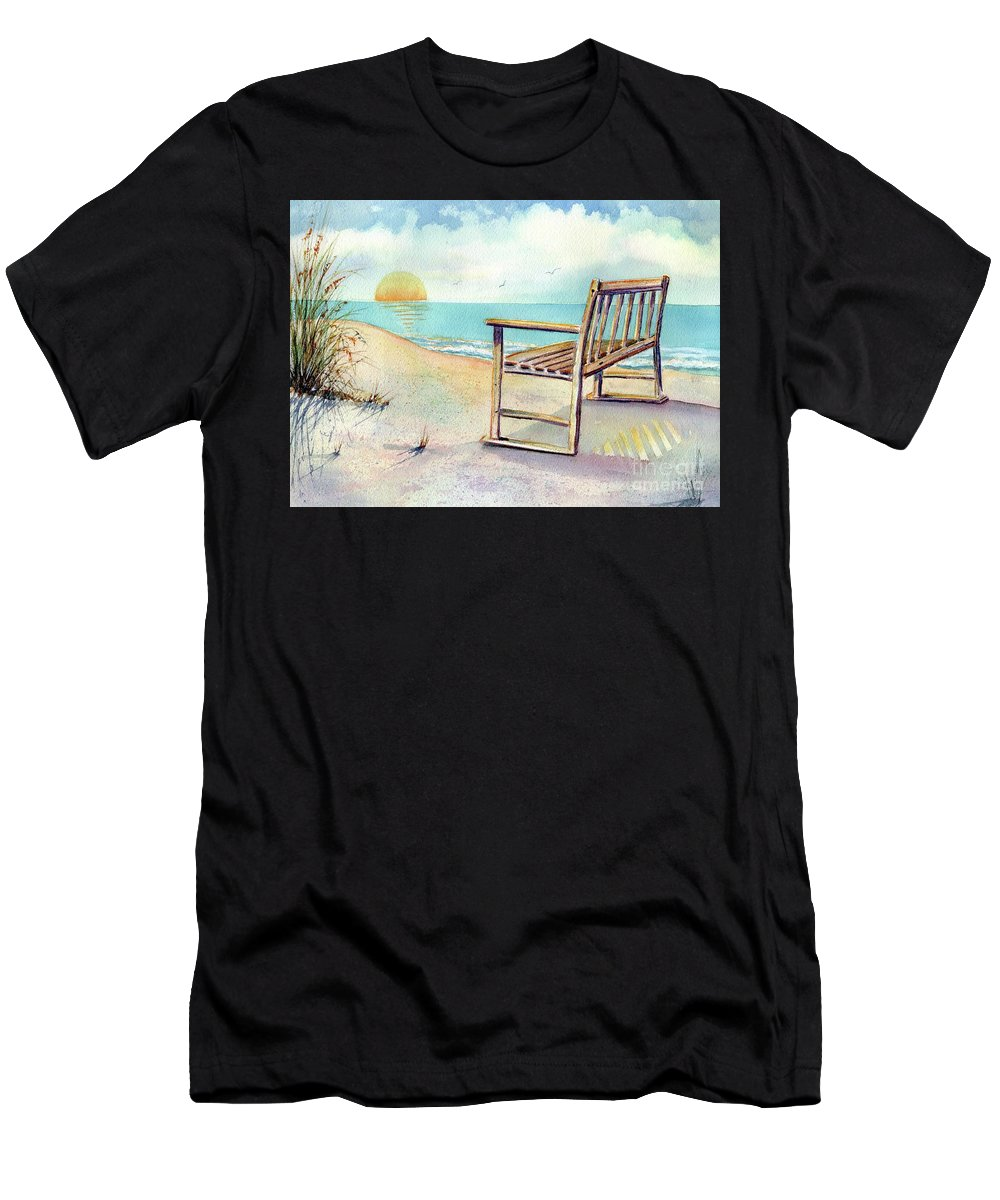 Beach T-Shirt featuring the painting Beach Bench by Midge Pippel