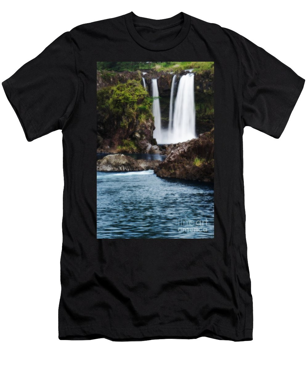 Beautiful Men's T-Shirt (Athletic Fit) featuring the photograph Big Island Waterfall by Greg Vaughn - Printscapes