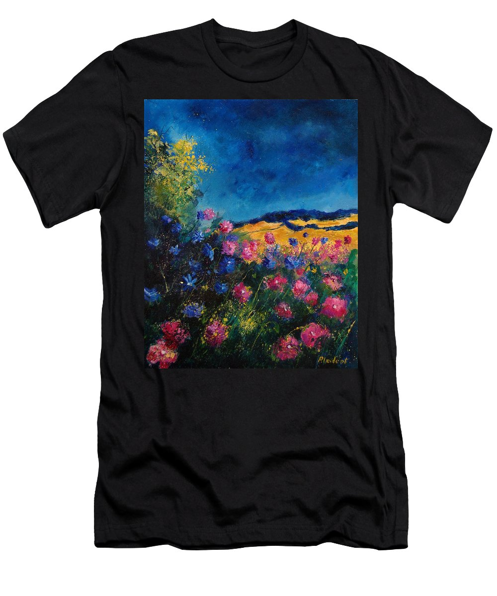 Flowers Men's T-Shirt (Athletic Fit) featuring the painting Blue And Pink Flowers by Pol Ledent