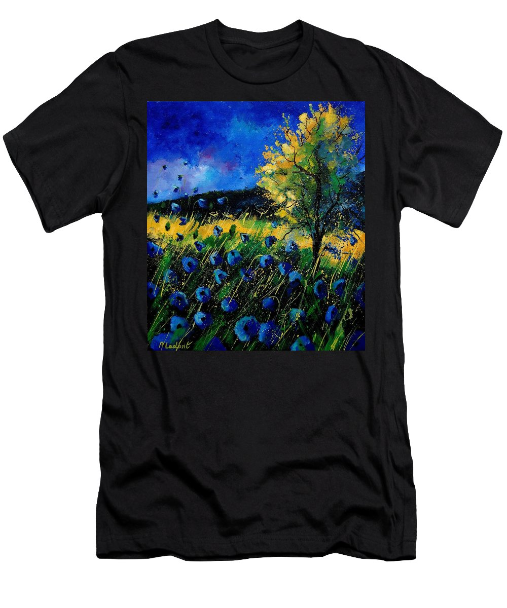 Poppies Men's T-Shirt (Athletic Fit) featuring the painting Blue Poppies by Pol Ledent