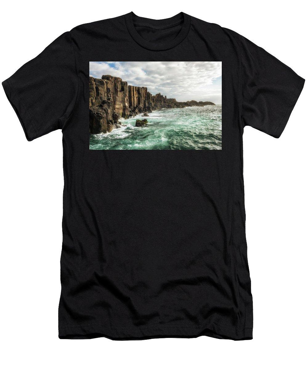 Australia Men's T-Shirt (Athletic Fit) featuring the photograph Bombo Headland Quarry At Kiama, Australia by Miroslav Liska