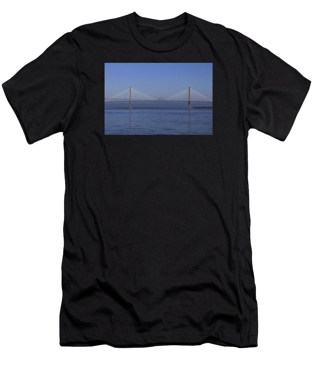 Charleston Photos Men's T-Shirt (Athletic Fit) featuring the photograph Bridge Over Blue Water by Matt Woolsey