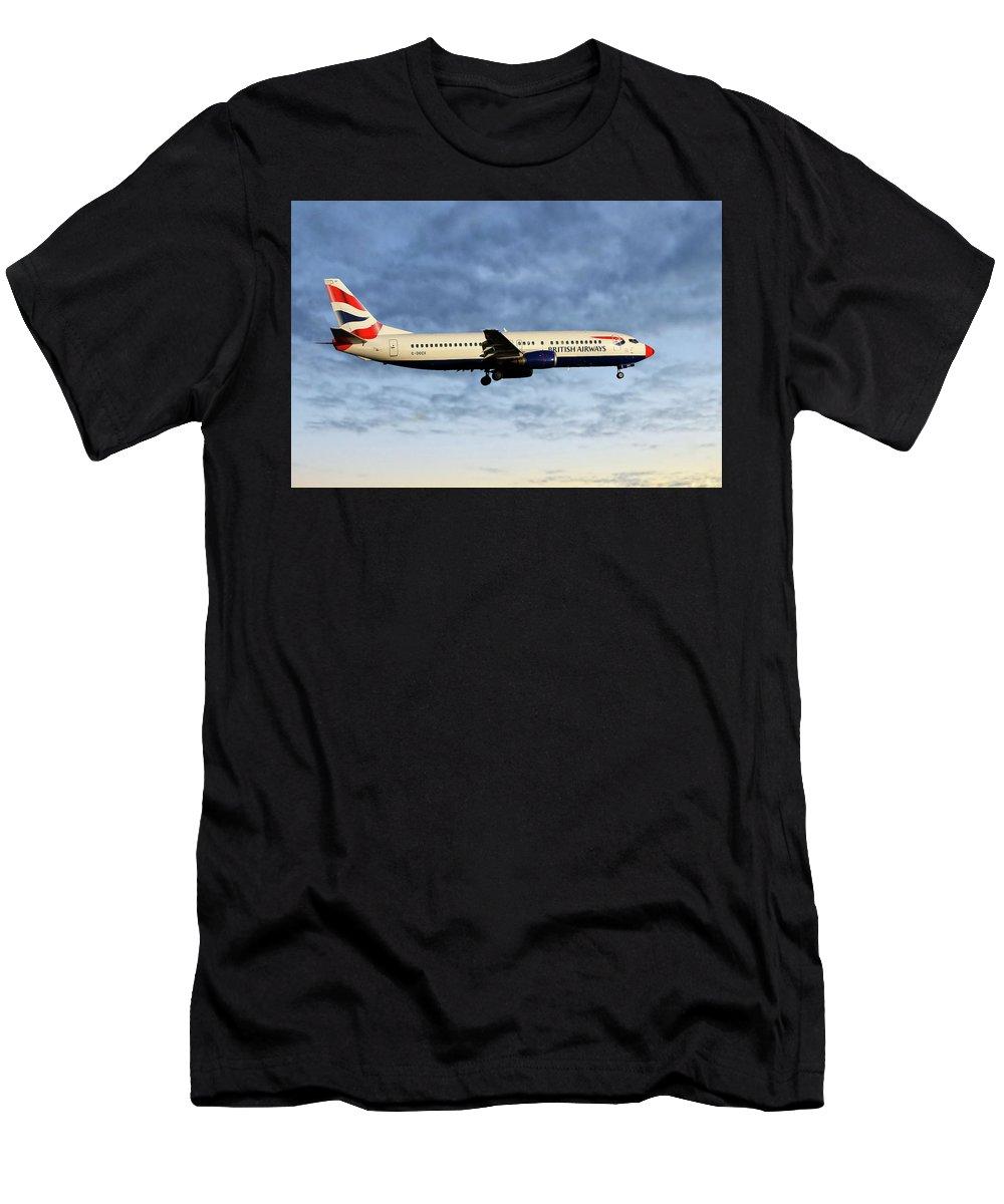 British Airways Men's T-Shirt (Athletic Fit) featuring the photograph British Airways Boeing 737-436 by Smart Aviation