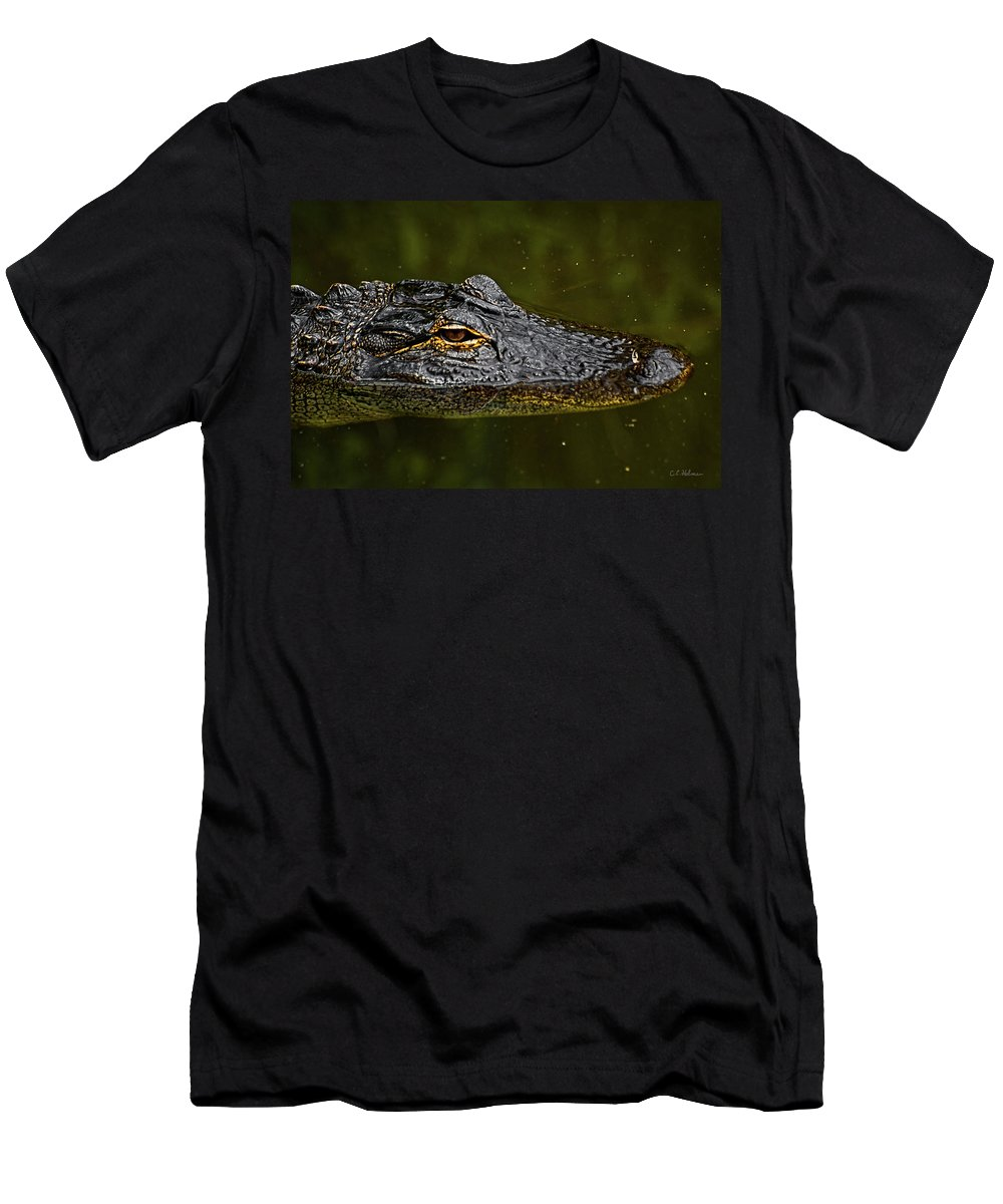 Alligator. Gator Men's T-Shirt (Athletic Fit) featuring the photograph Brown Eye by Christopher Holmes