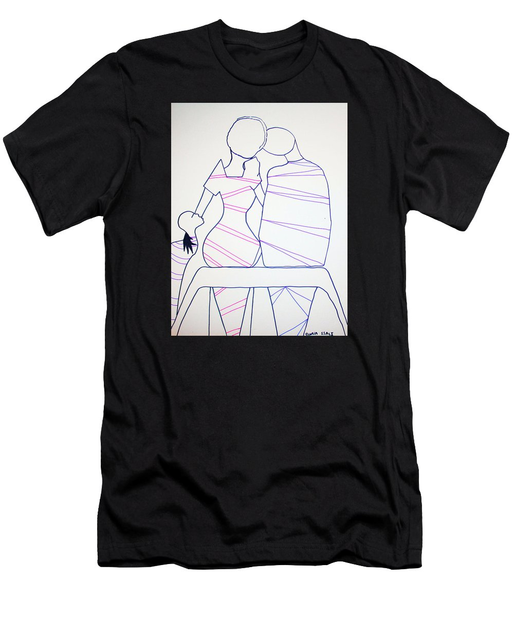 Jesus Men's T-Shirt (Athletic Fit) featuring the painting Bus Stop Blues by Gloria Ssali
