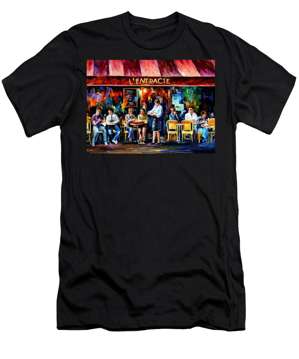 Afremov Men's T-Shirt (Athletic Fit) featuring the painting Cafe In Paris by Leonid Afremov