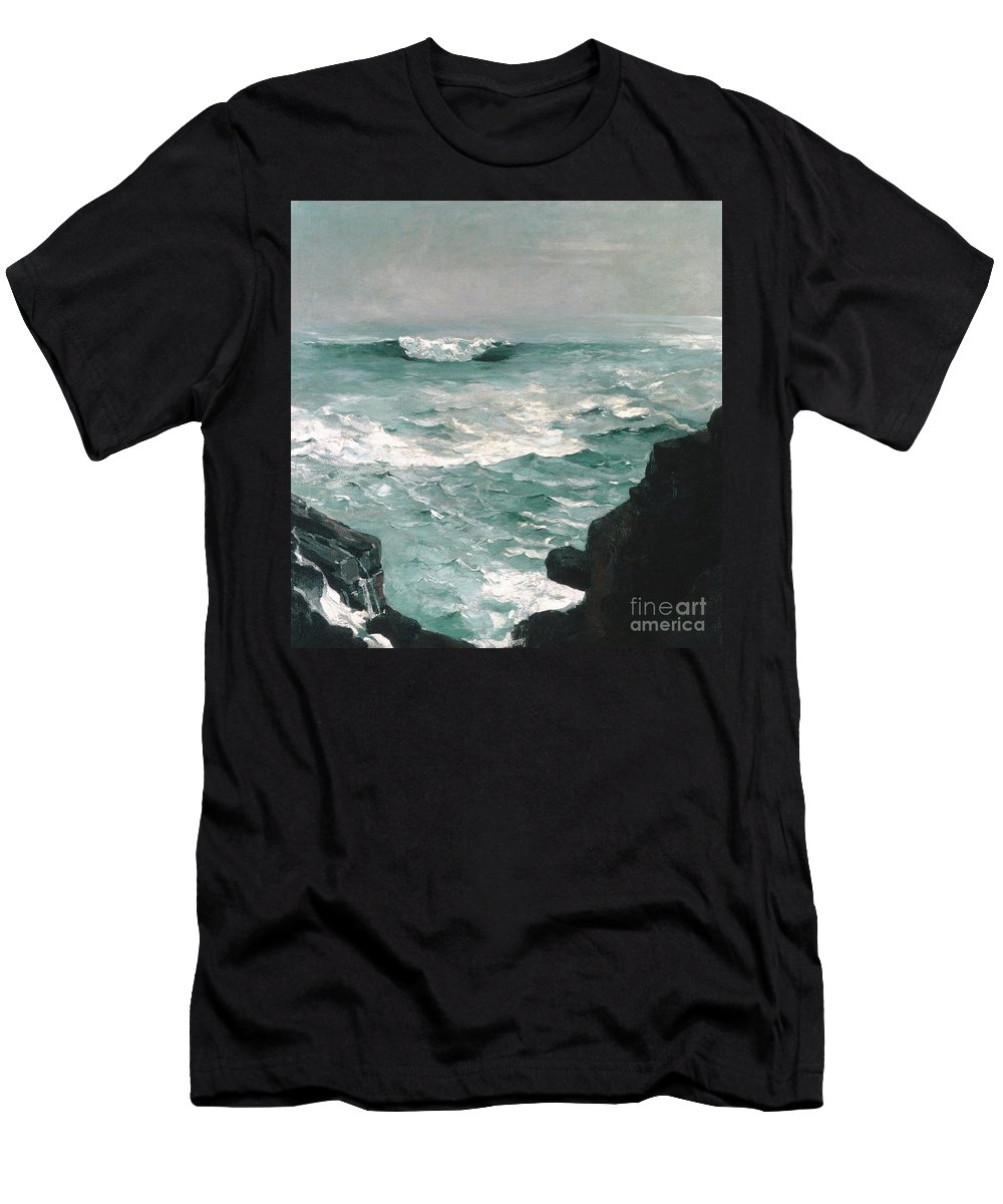 Homer Men's T-Shirt (Athletic Fit) featuring the painting Cannon Rock, 1895 1 by Winslow Homer