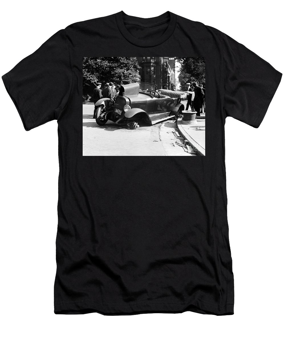 1919 Men's T-Shirt (Athletic Fit) featuring the photograph Car Accident, C1919 by Granger