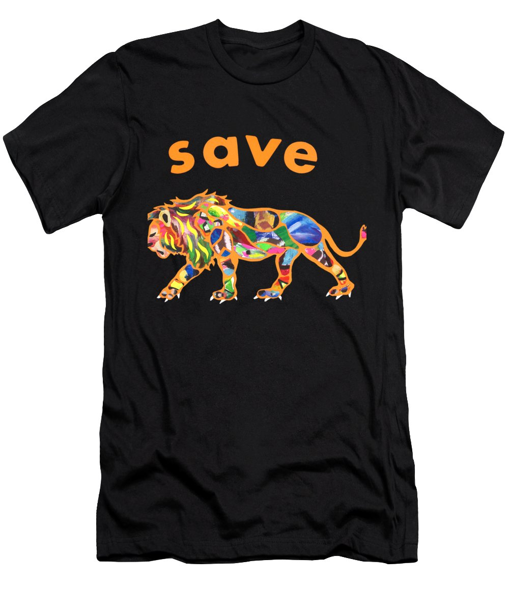 Men's T-Shirt (Athletic Fit) featuring the mixed media Cecil The Lion by Michael Andrew Frain